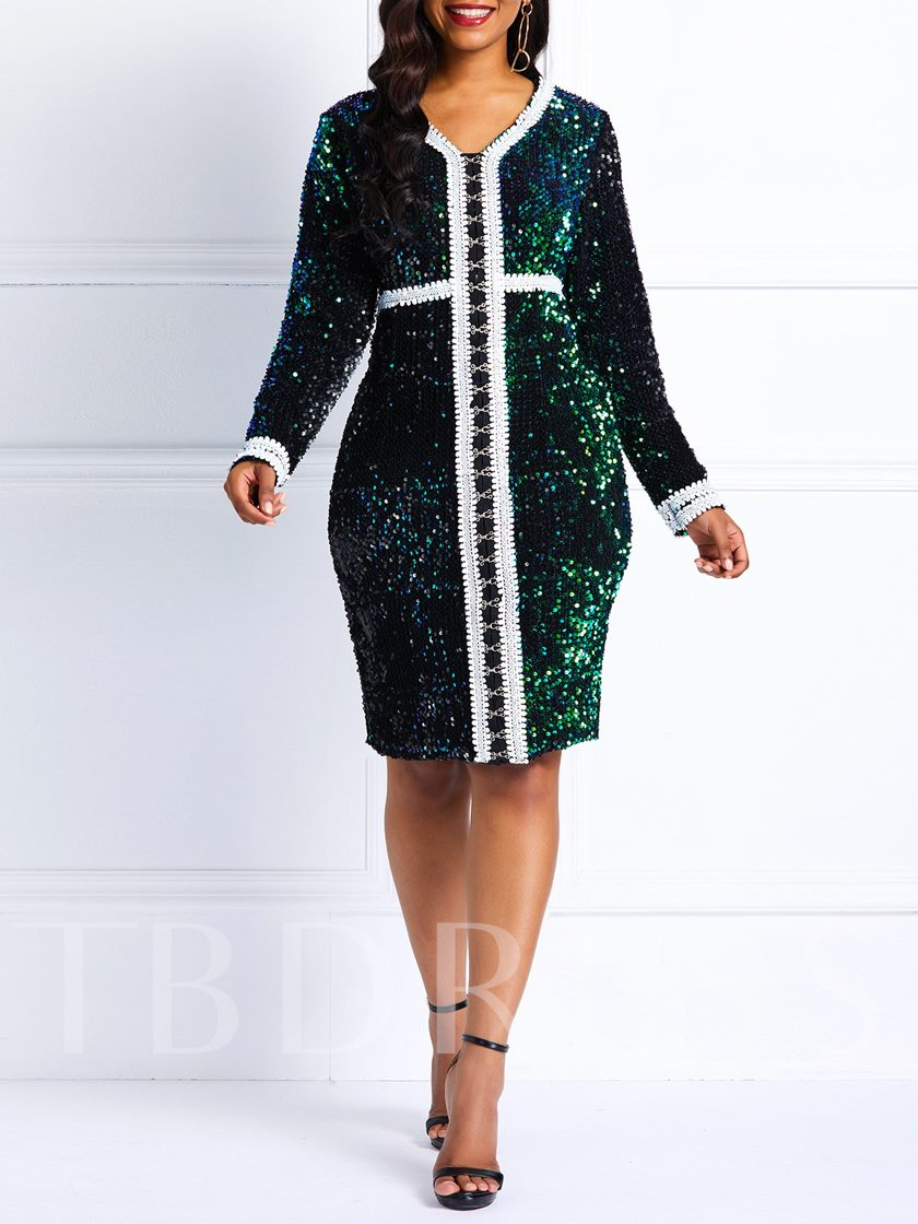 Sequins V-Neck Sexy Women's Long Sleeve Dress