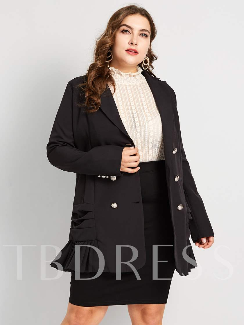 Notched Lapel Plain Double-Breasted Plus Size Women's Casual Blazer