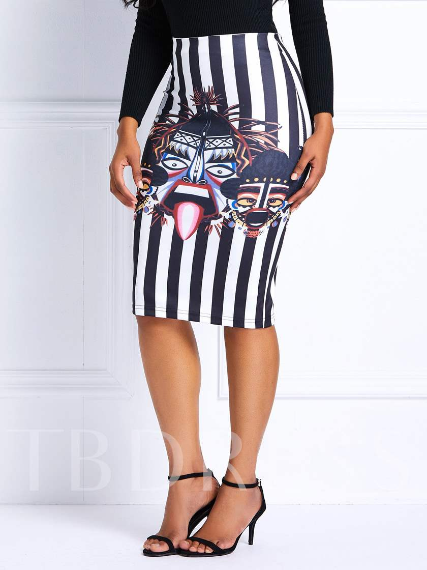 Knee-Length Print Stripe High-Waist Women's Skirt