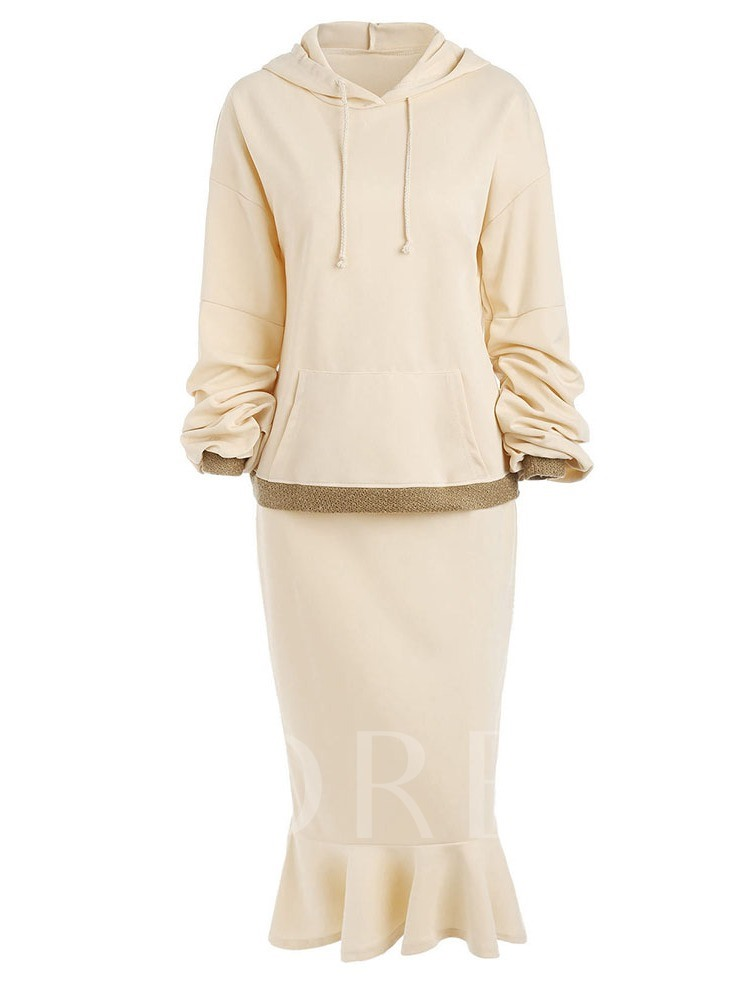 Casual Color Block Hoodie Pullover Women's Two Piece Sets