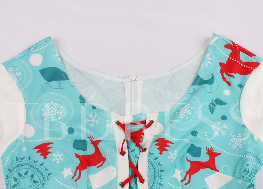 Scoop Neck Zipper-Up A-Line Printed Christmas Cocktail Dress