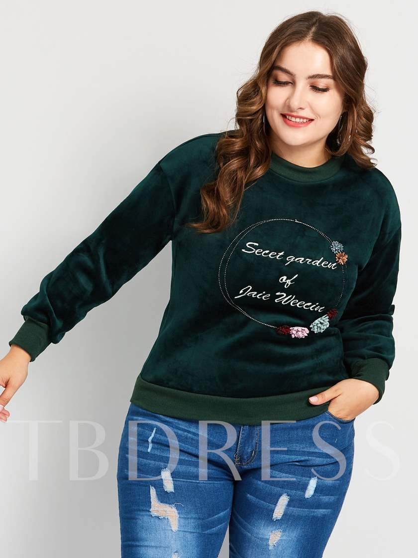 Embroidery Letter Round Neck Plus Size Women's Hoodie