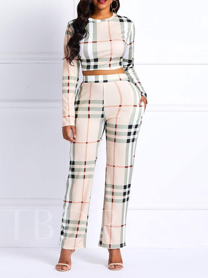 Plaid Stripe Print Women's Two Piece Sets