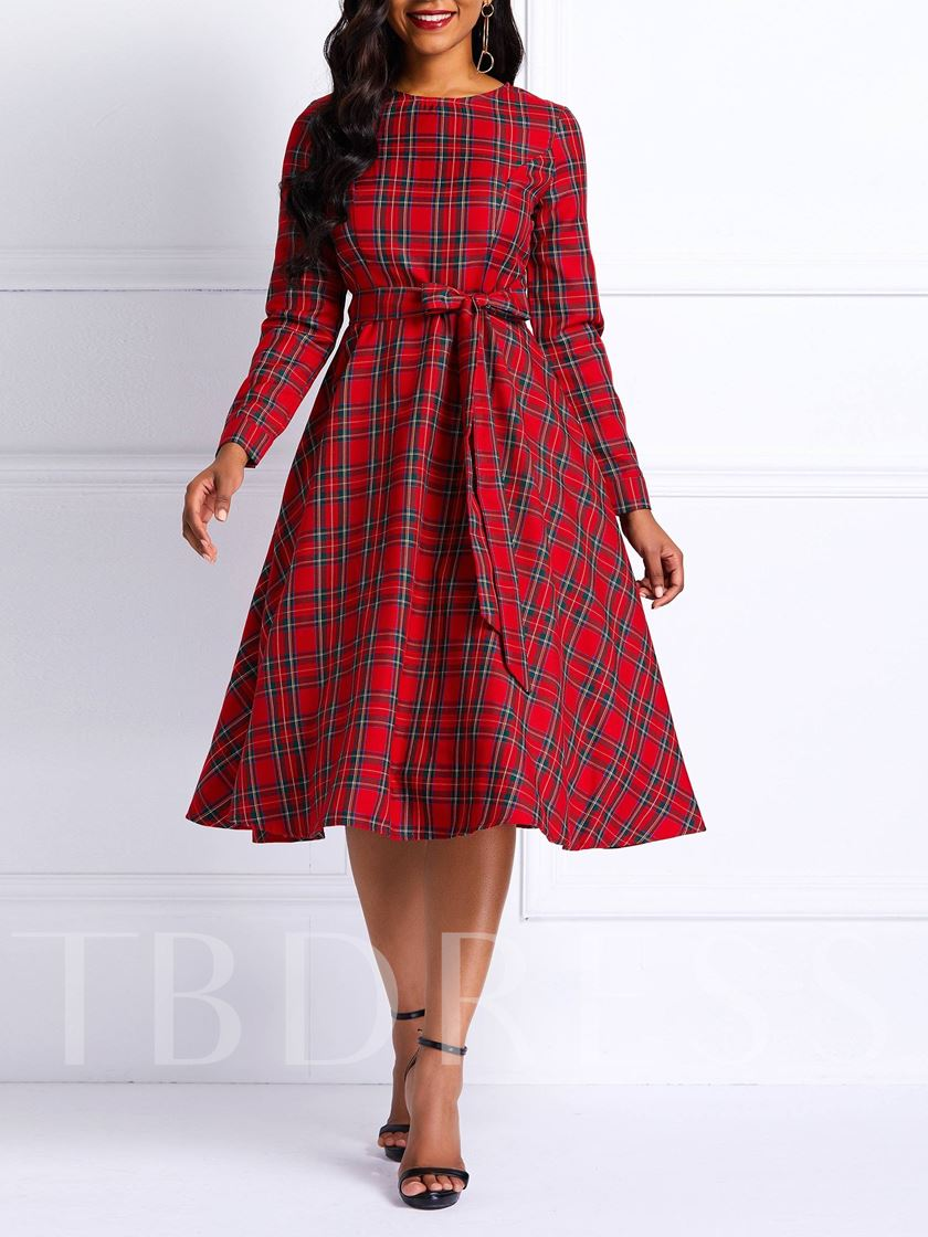 Red Plaid Knot Women's Day Dress