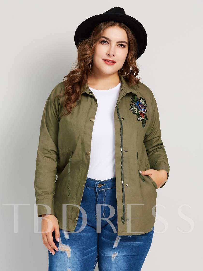 Floral Embroidery Mid-Length Plus Size Women's Trench Coat