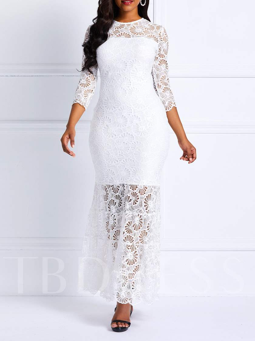 Round Neck Hollow Mermaid Women's Lace Dress
