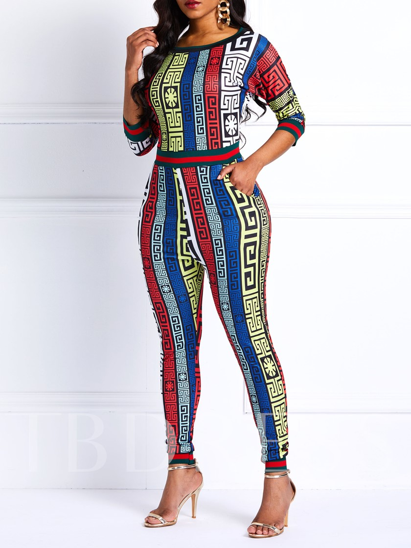 Neon Casual Print Pencil Pants Women's Jumpsuit