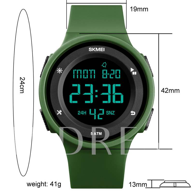 Multi Color Glass Digital Silicone Band Men's Watches