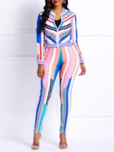 Stripe Casual Print Coat Stand Collar Women's Two Piece Sets