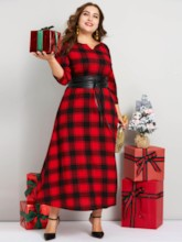 Plus Size V-Neck Print Pullover Plaid Women's Maxi Dress