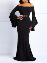 Bodycon Bell Sleeve Women's Maxi Dress Without Belt
