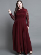Patchwork Long Sleeves Pleated Women's Lace Dress