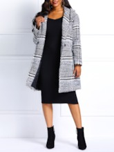 Houndstooth Hidden Button Hooded Mid-Length Women's Overcoat