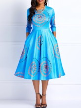 Print Three-Quarter Sleeve Round Neck Women's Maxi Dress