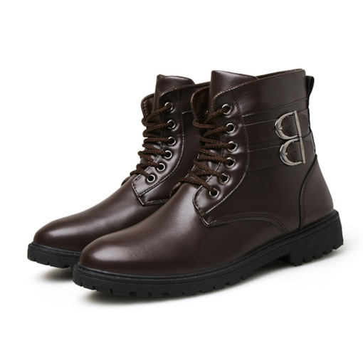 Lace-Up Front Round Toe Plain Buckle Mid-Calf Men's Boots
