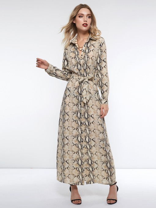 Polo Neck Long Sleeve Print Serpentine Women's Maxi Dress