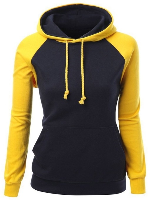 Color Block Raglan Sleeve Slim Women's Hoodie
