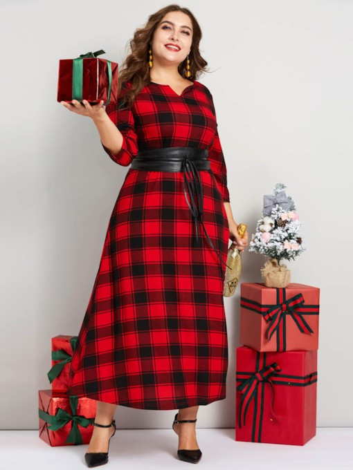 Christmas Plus Size V-Neck Print Pullover Plaid Women's Maxi Dress