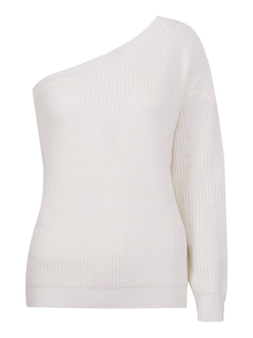 Backless Oblique Collar Women's Sweater