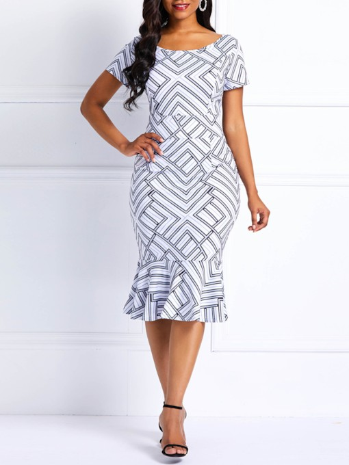 Round Neck Print Short Sleeve Geometric Women's Bodycon Dress