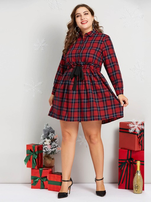Christmas Plus Size Button England Women's Long Sleeve Dress