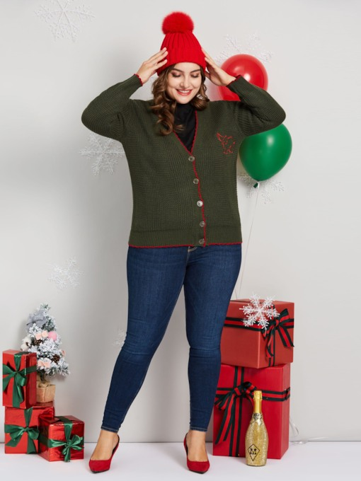 Christmas V-Neck Single-Breasted Plus Size Women's Cardigan