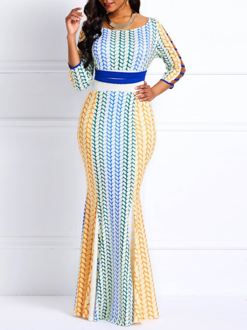 robe maxi femme col rond manches 3/4