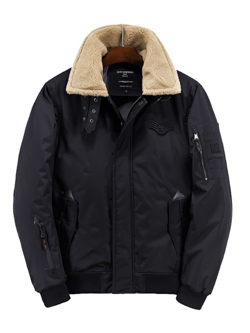 Straight Plain Fur Lapel European Men's Down Jacket