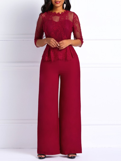 Plain OL Full Length Lace Wide Legs Women's Jumpsuit