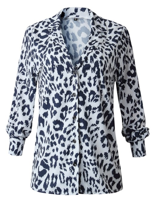 Notched Lapel Leopard Print Women's Blouse
