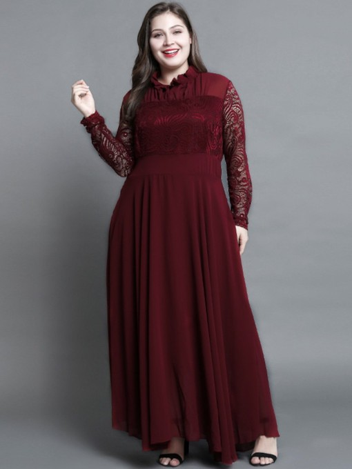 Plus Size Patchwork Long Sleeves Pleated Women's Lace Dress