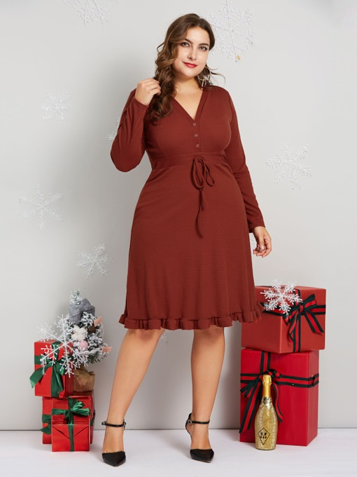 Plus Size Button Pullover Women's Long Sleeve Dress