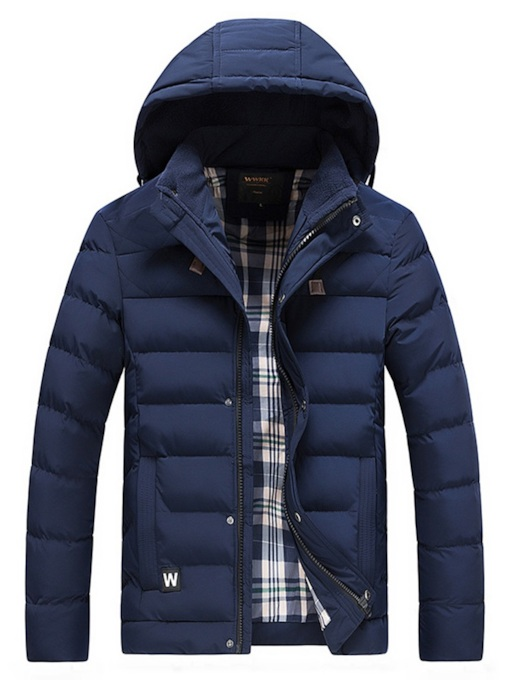 Thick Straight Plain Hooded Men's Down Jacket