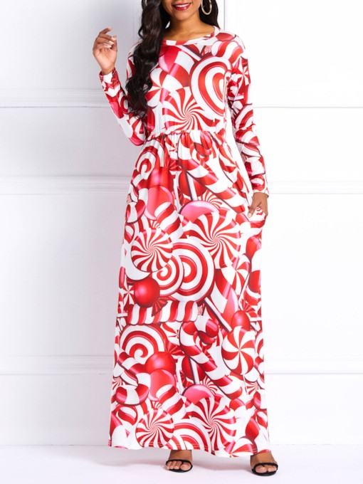 Long Sleeve Pullover Prints Women's Maxi Dress