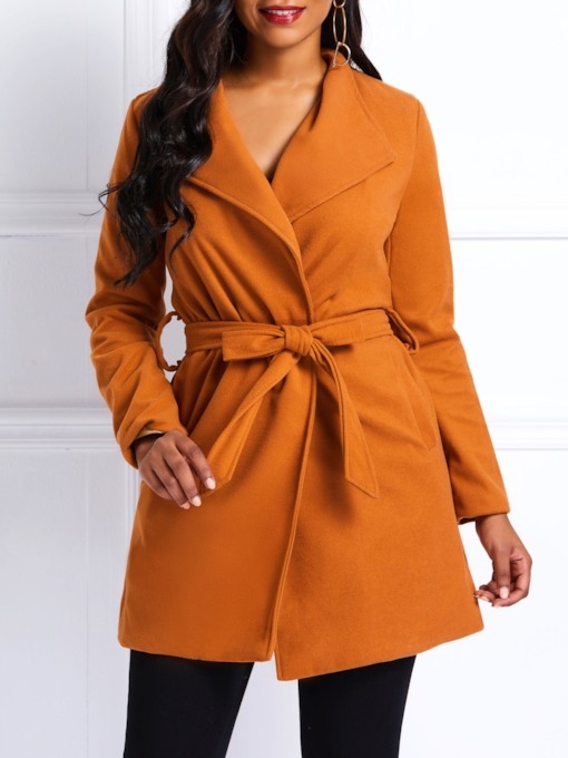 Lapel Lace-Up Camel Coat Women's Overcoat