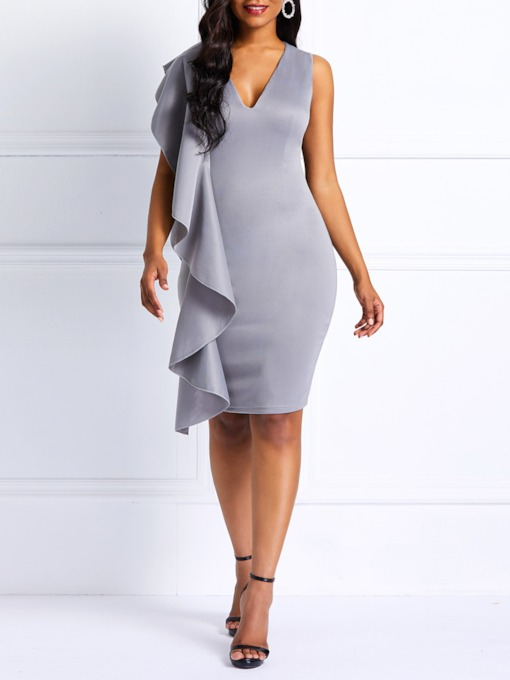 Falbala Sleeveless V-Neck Zipper Women's Bodycon Dress