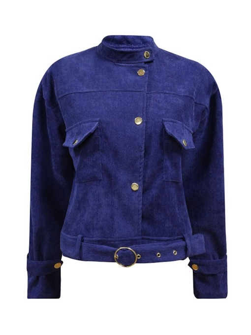 Dual Pockets Stand Collar Women's Jacket