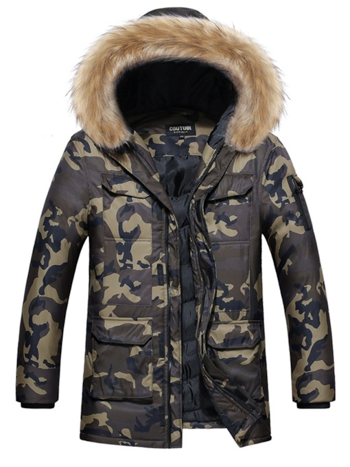 Hooded CamouflageThick Men's Jacket & Overcoat
