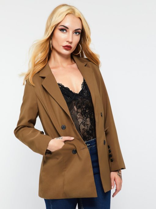 Notched Lapel Double-Breasted Plain Camel Coat Women's Blazer