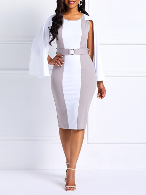 Belt Nine Points Sleeve Round Neck Women's Bodycon Dress