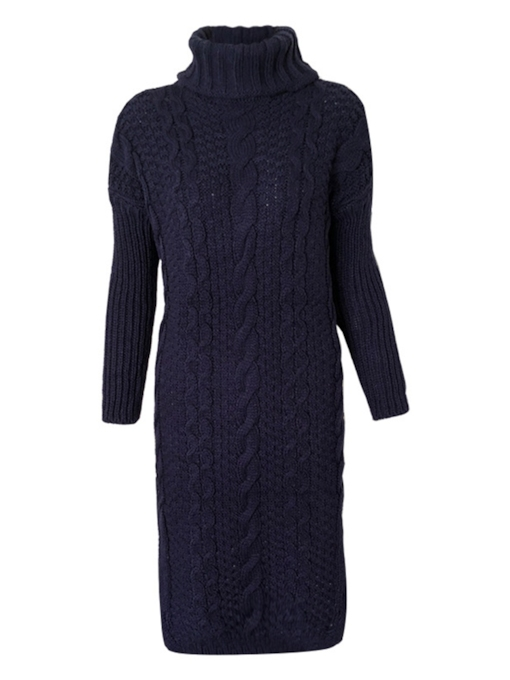 Long Sleeve Split Women's Sweater Dress