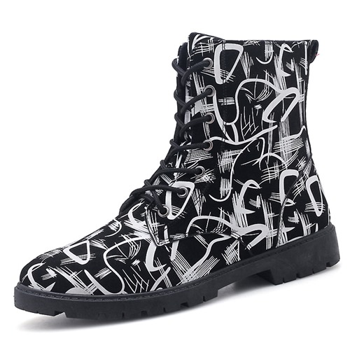 Round Toe Lace-Up Front Fashion Men's Ankle Boots