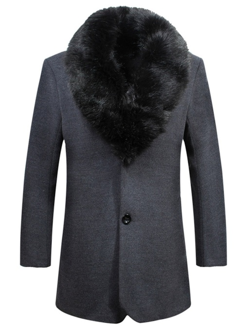 Fur Stand Collar Slim Plain Men's Coat