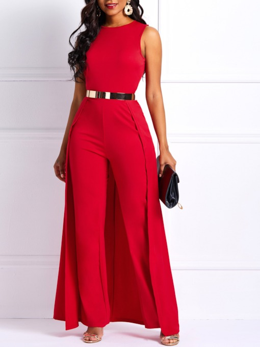 African Fashion Patchwork Plain High-Waist Women's Jumpsuit (No Belt)