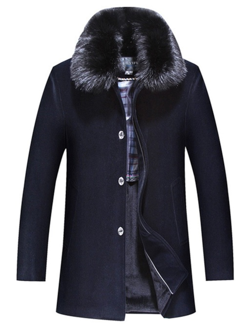 Straight Fur Lapel Plain Single-Breasted Men's Coat
