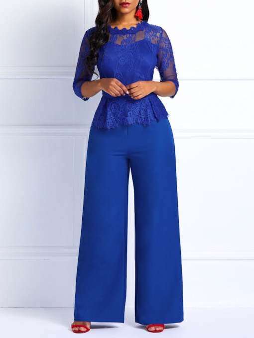 Full Length Lace Patchwork Slim Women's Jumpsuits