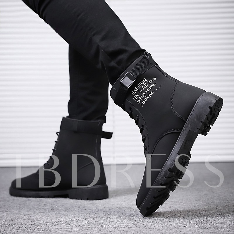 Letter Round Toe Lace-Up Front Fashion Men's Boots