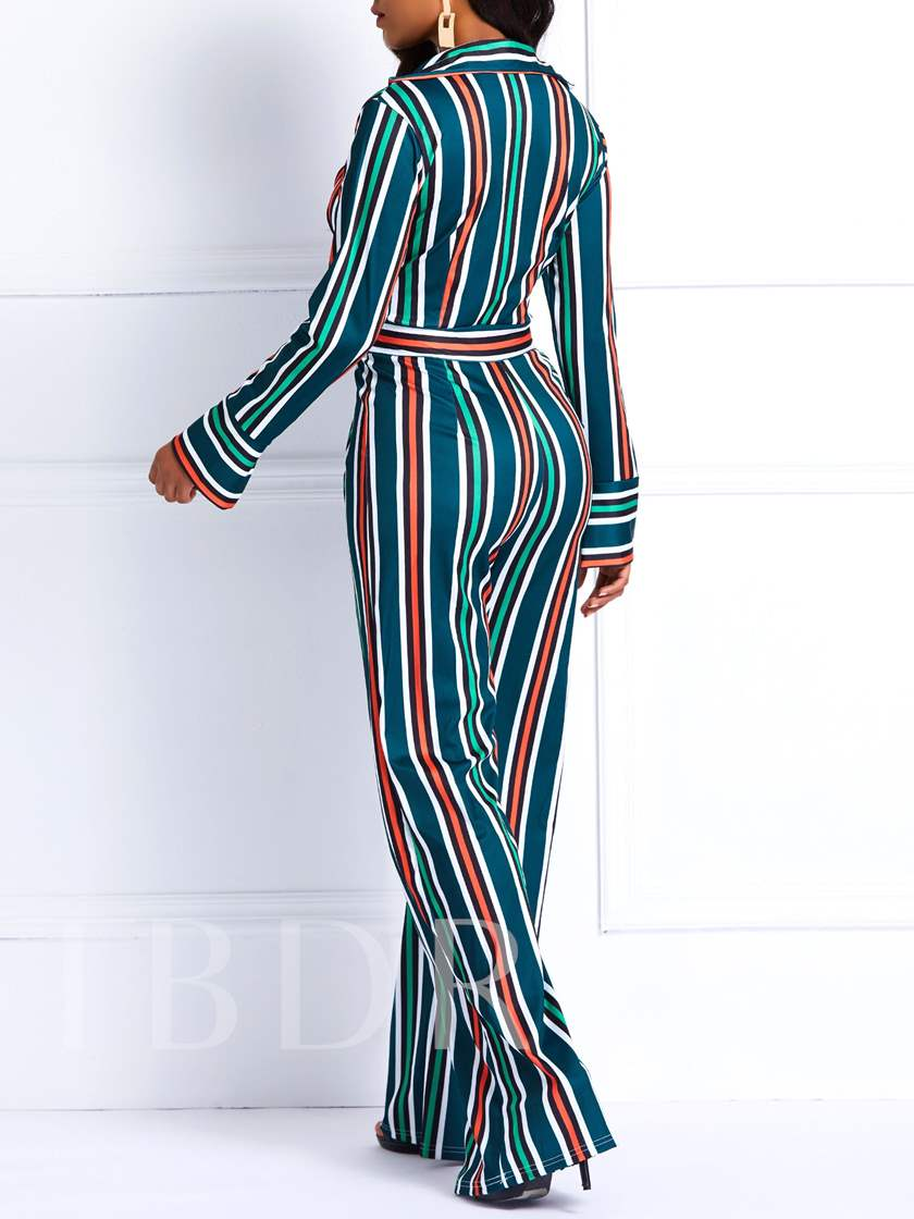 Stripe Sexy Print Full Length Wide Legs Women's Jumpsuits