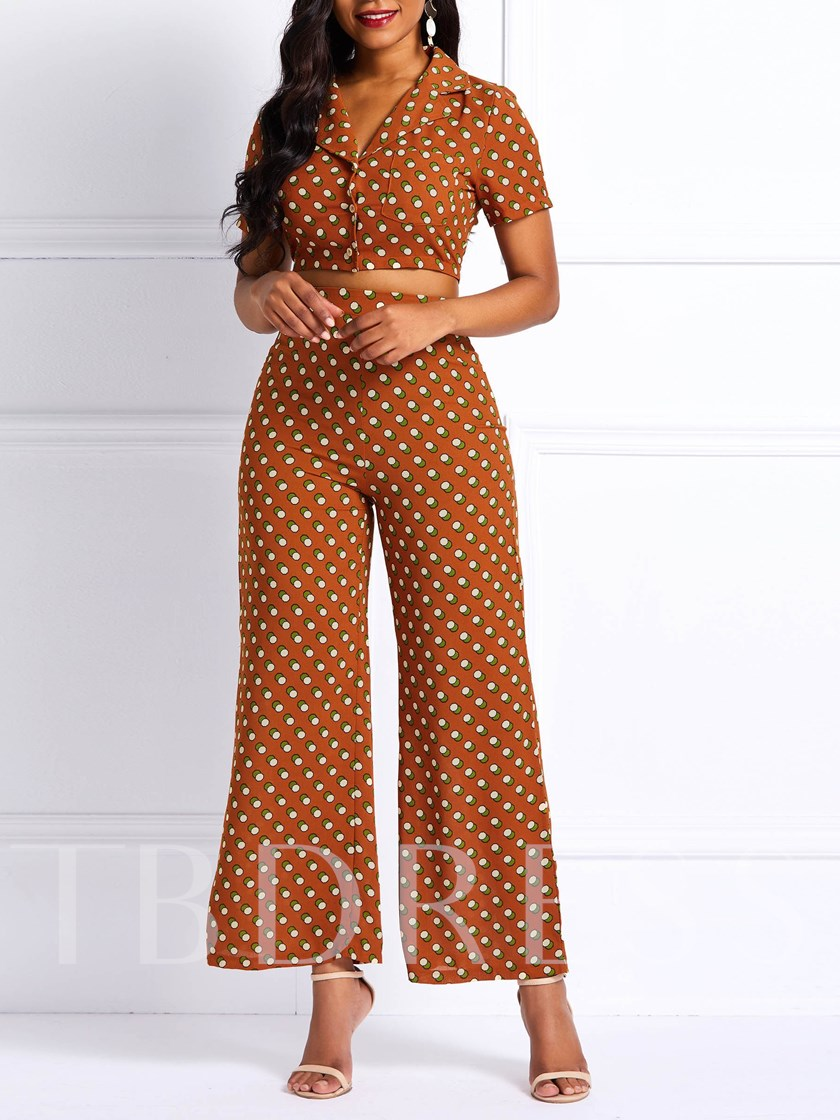 Print Polka Dots Sexy Wide Legs Women's Two Piece Sets