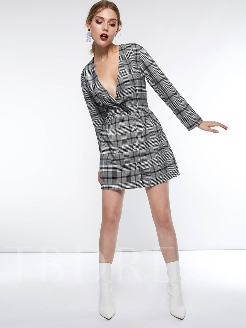 Double-Breasted Button Plaid Women's Long Sleeve Dress